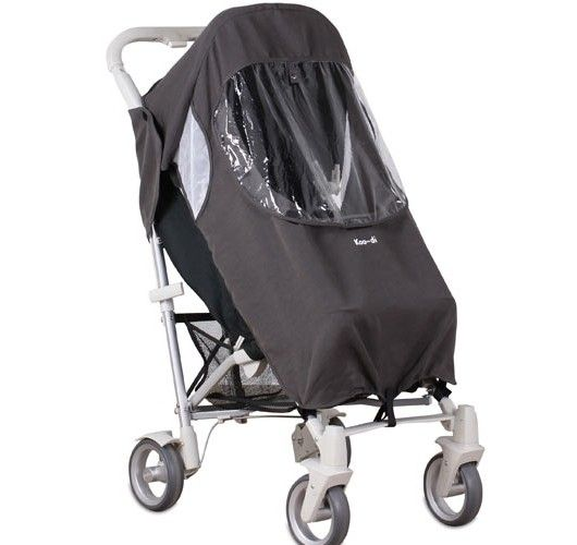black pushchair raincover