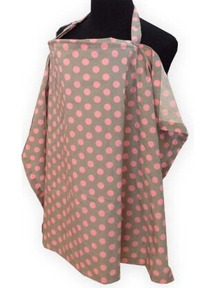 Palm & Pond Breastfeeding Cover Grey with Pink Spots - Large