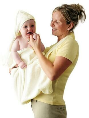 Clevamama Extra Large Hooded Baby Towel and Apron Wrap - Cream