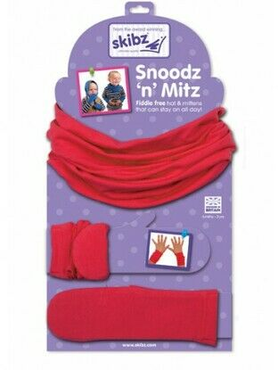 Pillar Box Red Snoodz'n Mitz Hat and Mittens by Skibz 6 mths - 3 yrs