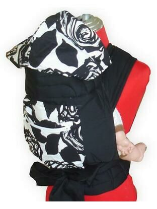 Black Floral Design Mei Tai Baby Sling With Hood and Pocket