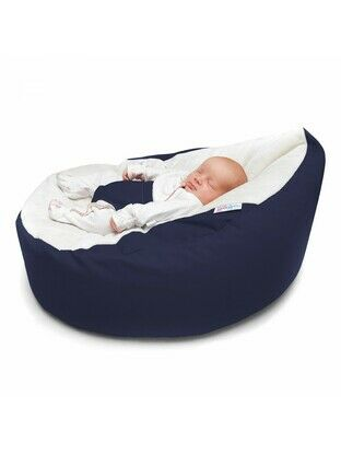 GaGa Navy Cuddlesoft Pre-Filled Baby Bean Bag with Adjustable Safety Harness