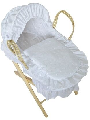 Dolls Broderie Anglais Moses Basket + Stand