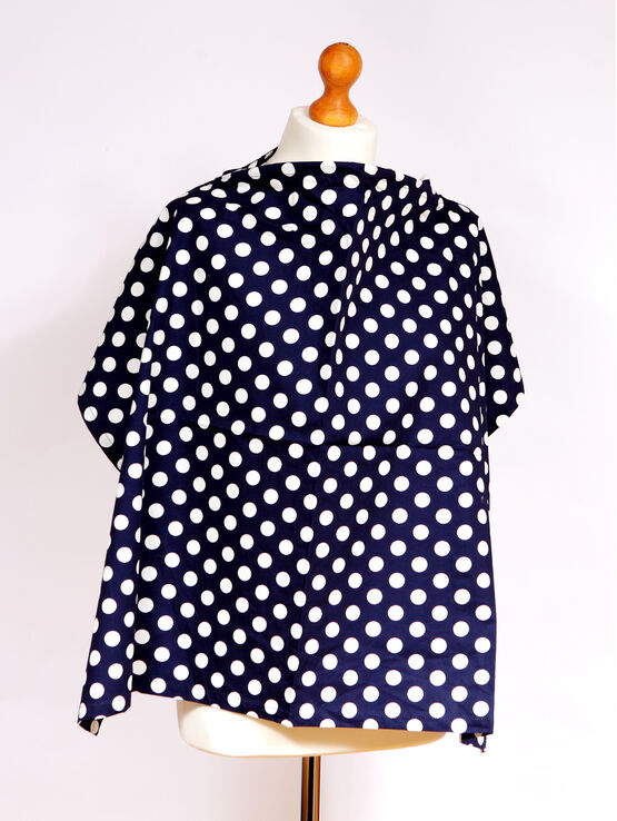 Palm & Pond Breastfeeding Cover With Boning - Navy Blue & White Spots, Large